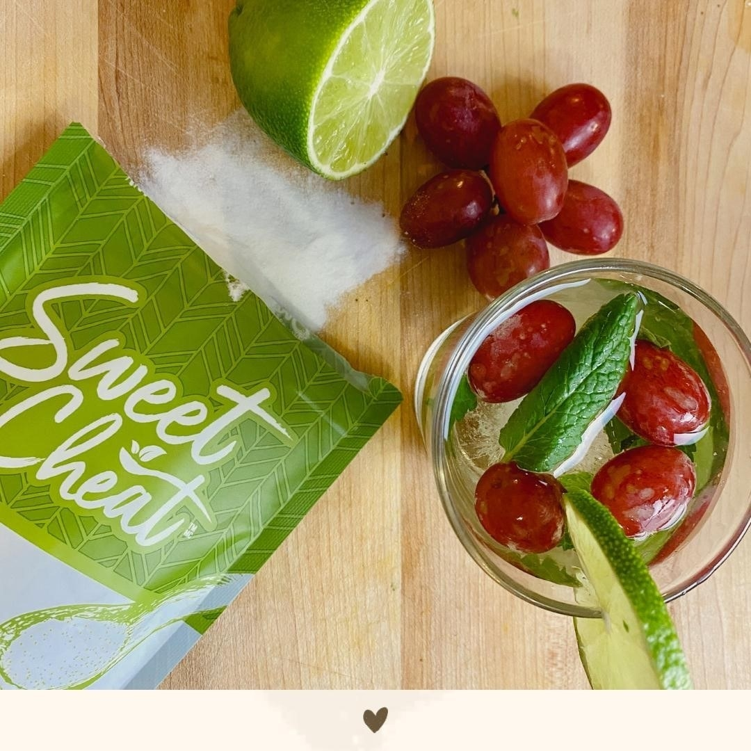 A packet of Sweet Cheat sweetener and a homemade fruity drink