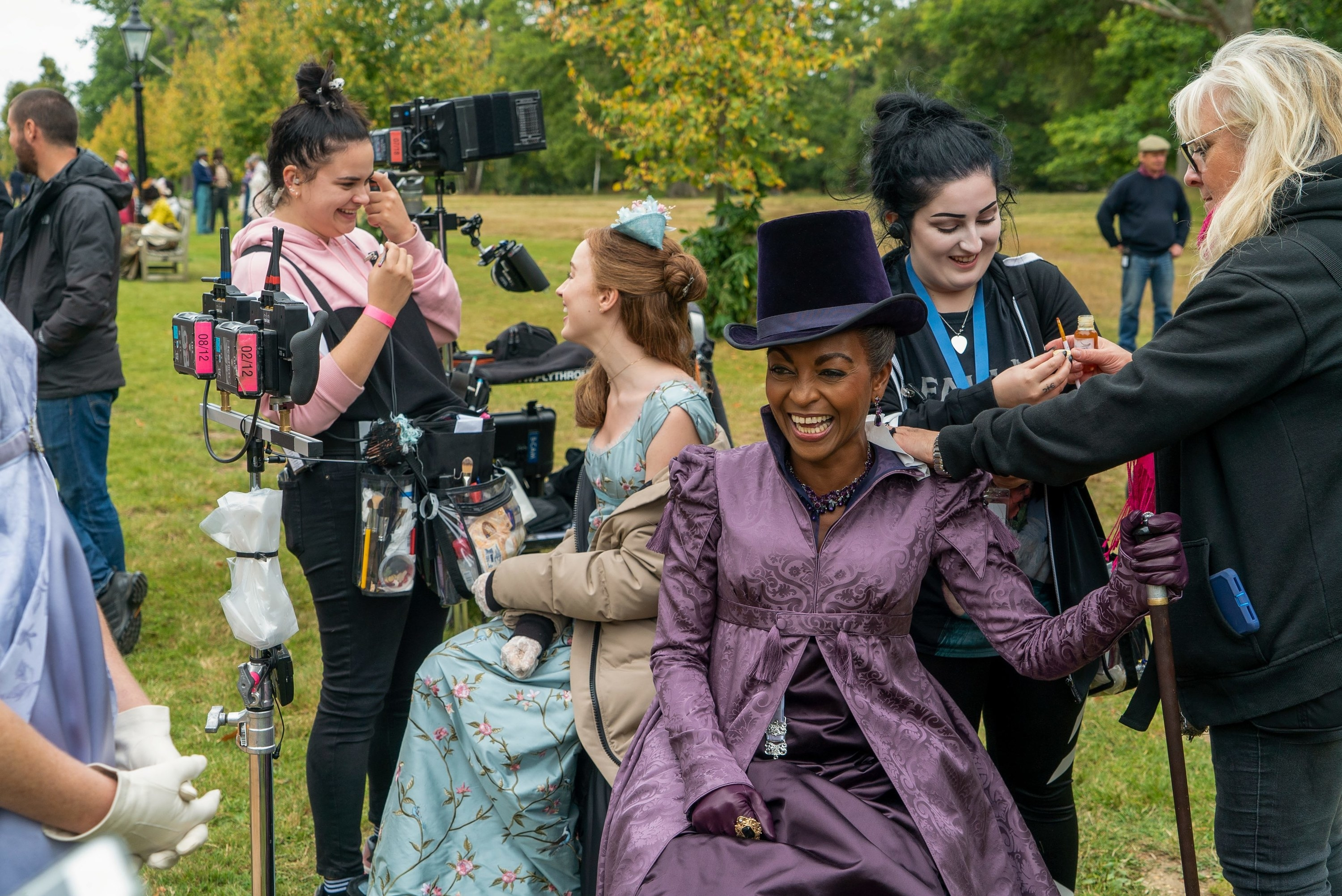 Adjoa Andoh laughing behind the scenes with Phoebe Dynevor