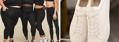 on left models wearing matching black sports bras and leggings and on right a pair of white lace-up sneakers
