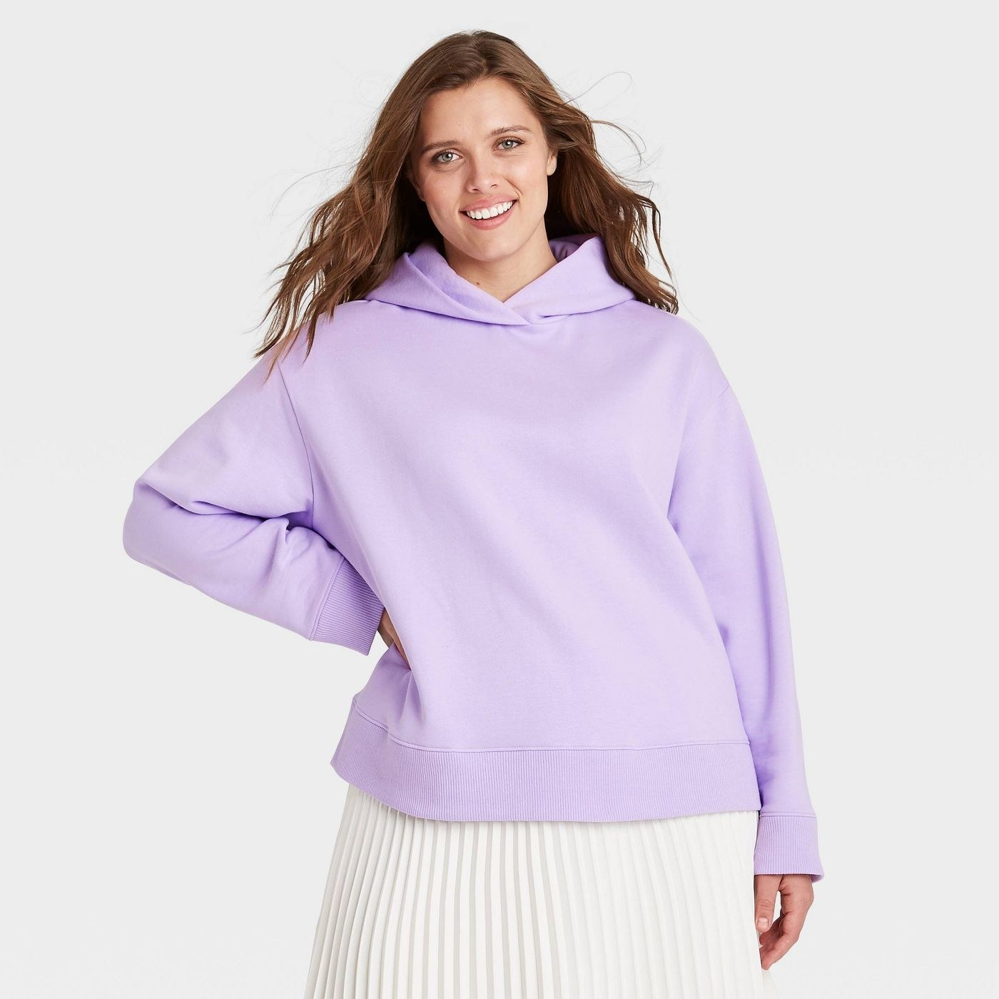 model wearing the hoodie in lilac
