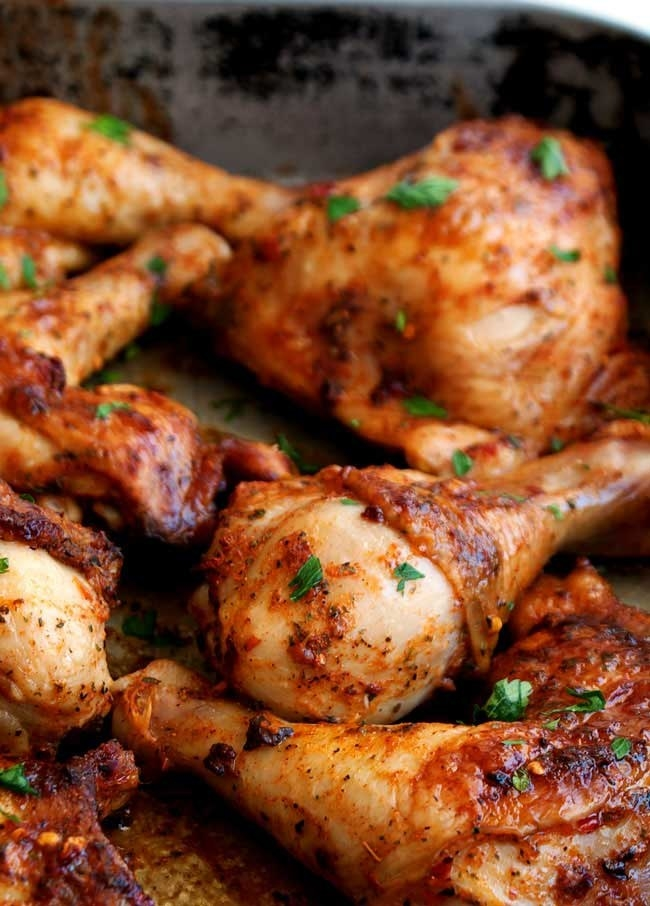Marinated peri peri chicken drumsticks.