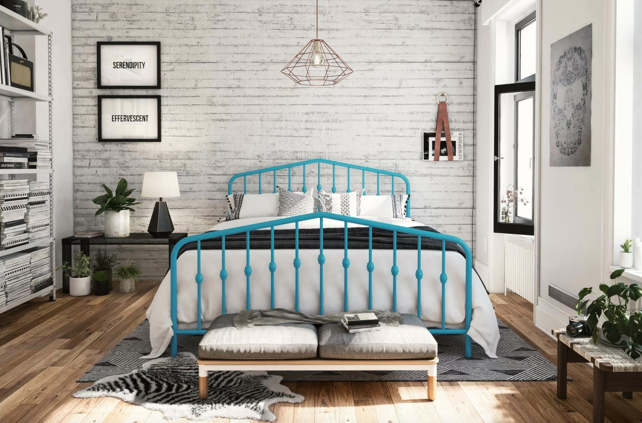 The platform bed in sea blue