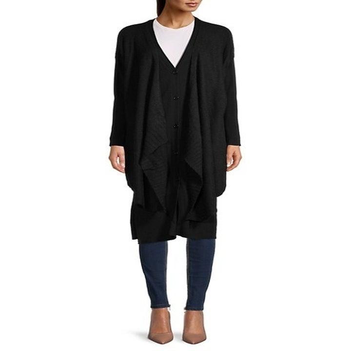 model wearing the black cardigan