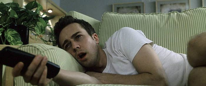 """Ed Norton's character staring at the TV in """"Fight Club"""""""