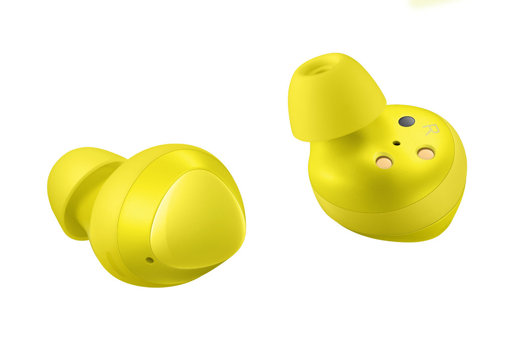 The yellow earbuds