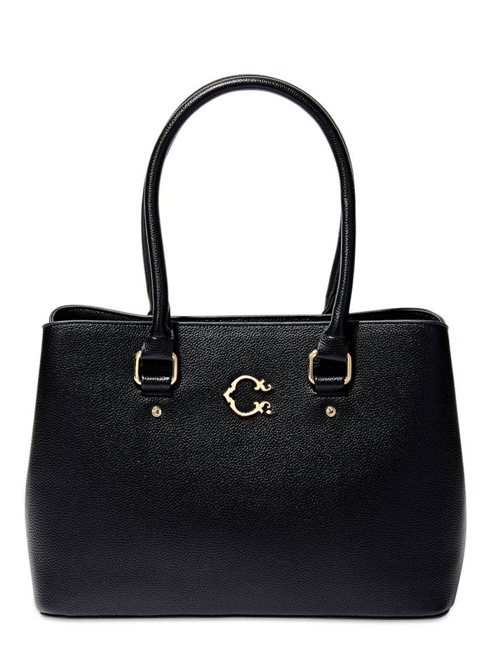 The black faux-leather bag