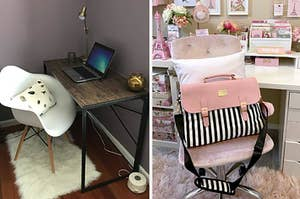 On the left, a faux wood desk. On the right, a striped laptop bag