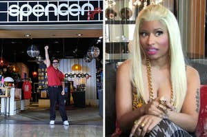 A picture of Spencer's Gift store and Nicki Minaj looking shocked