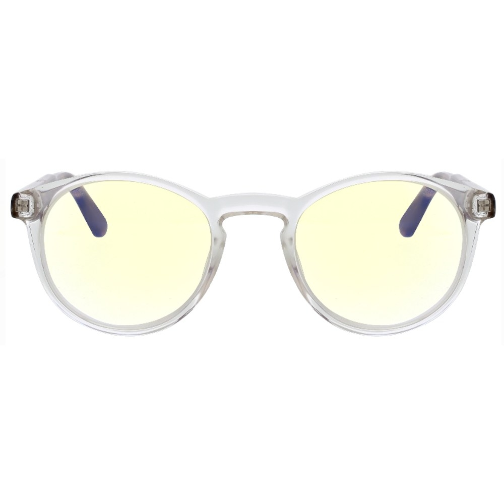 Clear glasses with yellow lenses