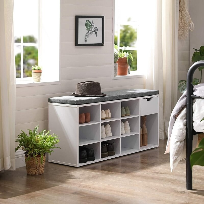 the latitude run Shoe Storage Bench With Drawer And Open Compartments