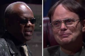 Hank dressed up as Morpheus next to a screen cap of Dwight smiling to the camera