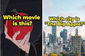 which disney movie is a posioned apple from and which city is the big apple?