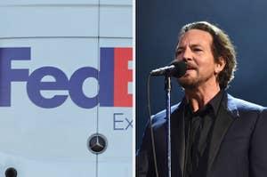 Side-by-side images of a FedEx van and Eddie Vedder