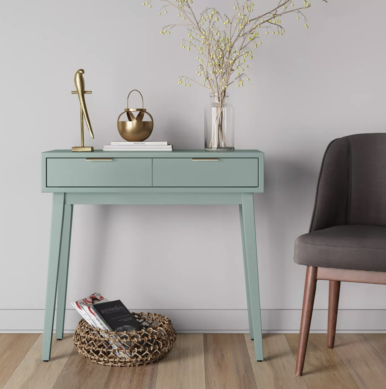 The pale green console table