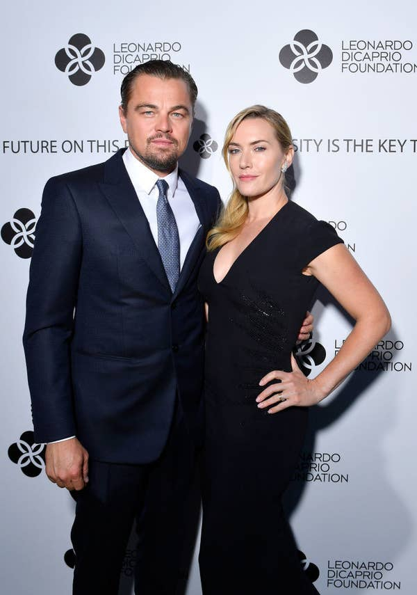Leonardo DiCaprio and Kate Winslet posing on a red carpet together at the Saint-Tropez Gala in 2017
