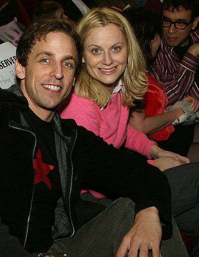 Seth Meyers and Amy Poehler at a movie premiere in 2004
