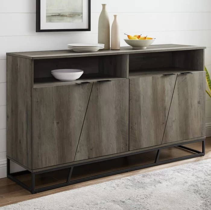 The wide sideboard in gray wash