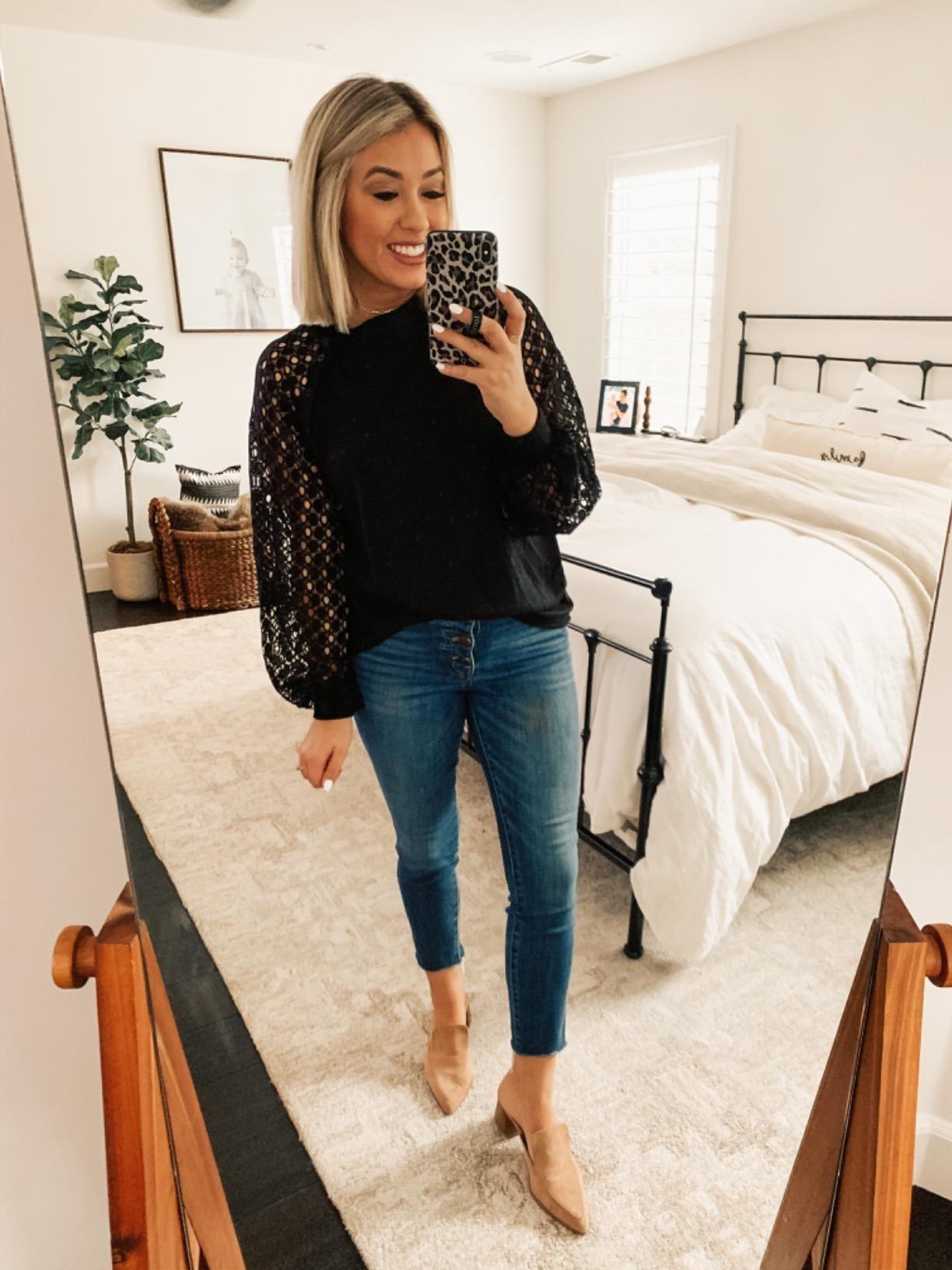 Reviewer wearing black blouse