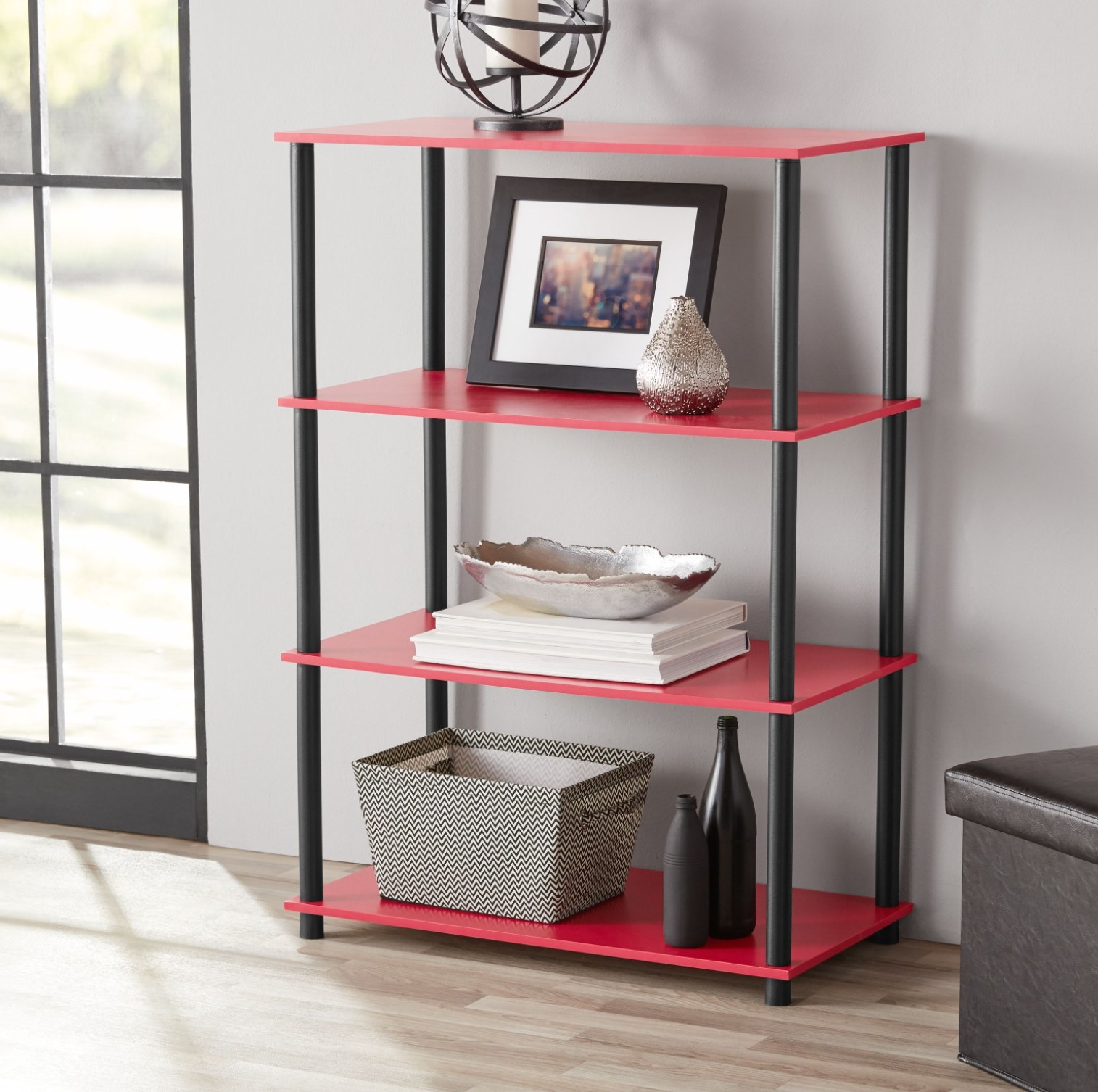 The shelves in red