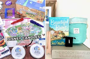 """(left) An array of Disney items, including candles; (right) A book and other items sit on a box labeled """"the wordy traveler"""""""