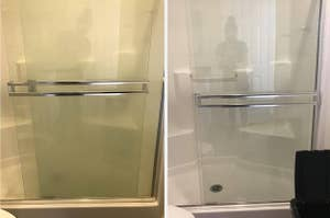 On the left, grimy shower door. On the left, clearer shower door after using hard water stain remover
