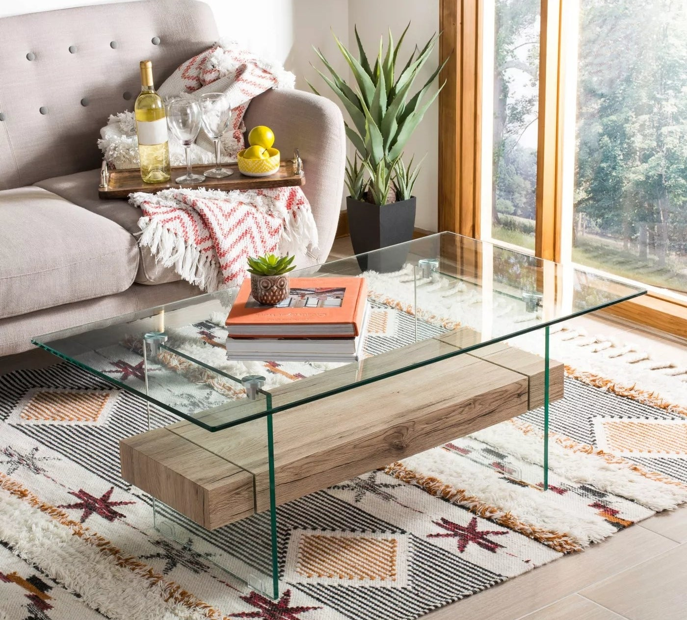 A table made of glass and wood