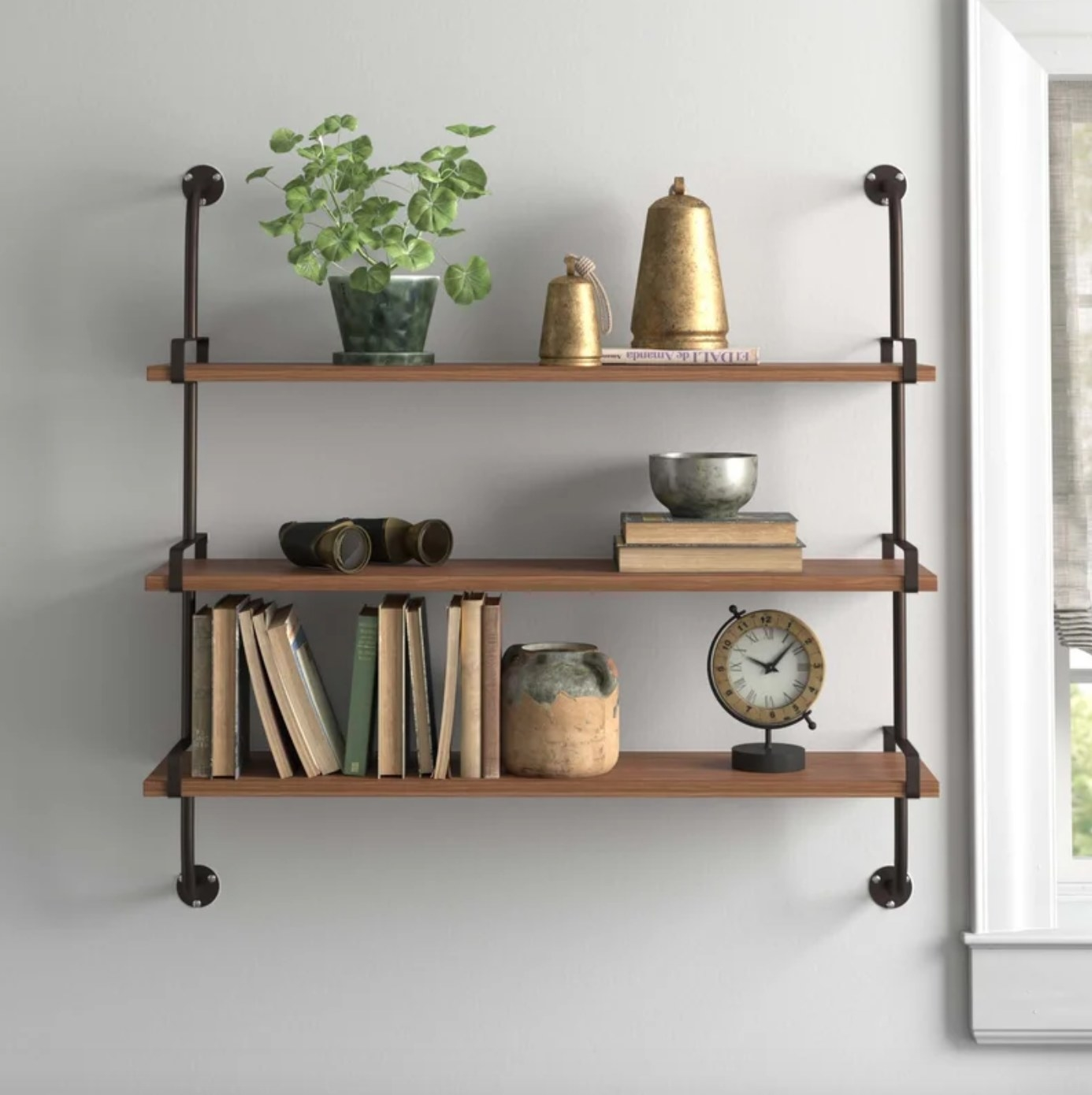 The wood wall shelf