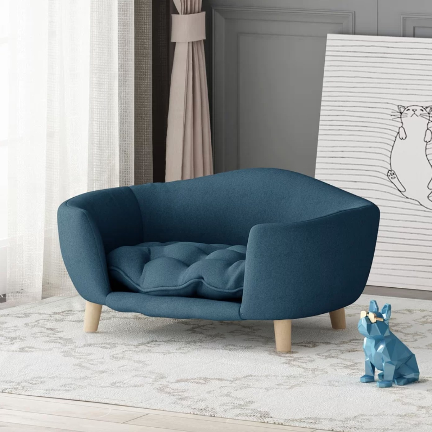 The luxury pet bed in navy blue