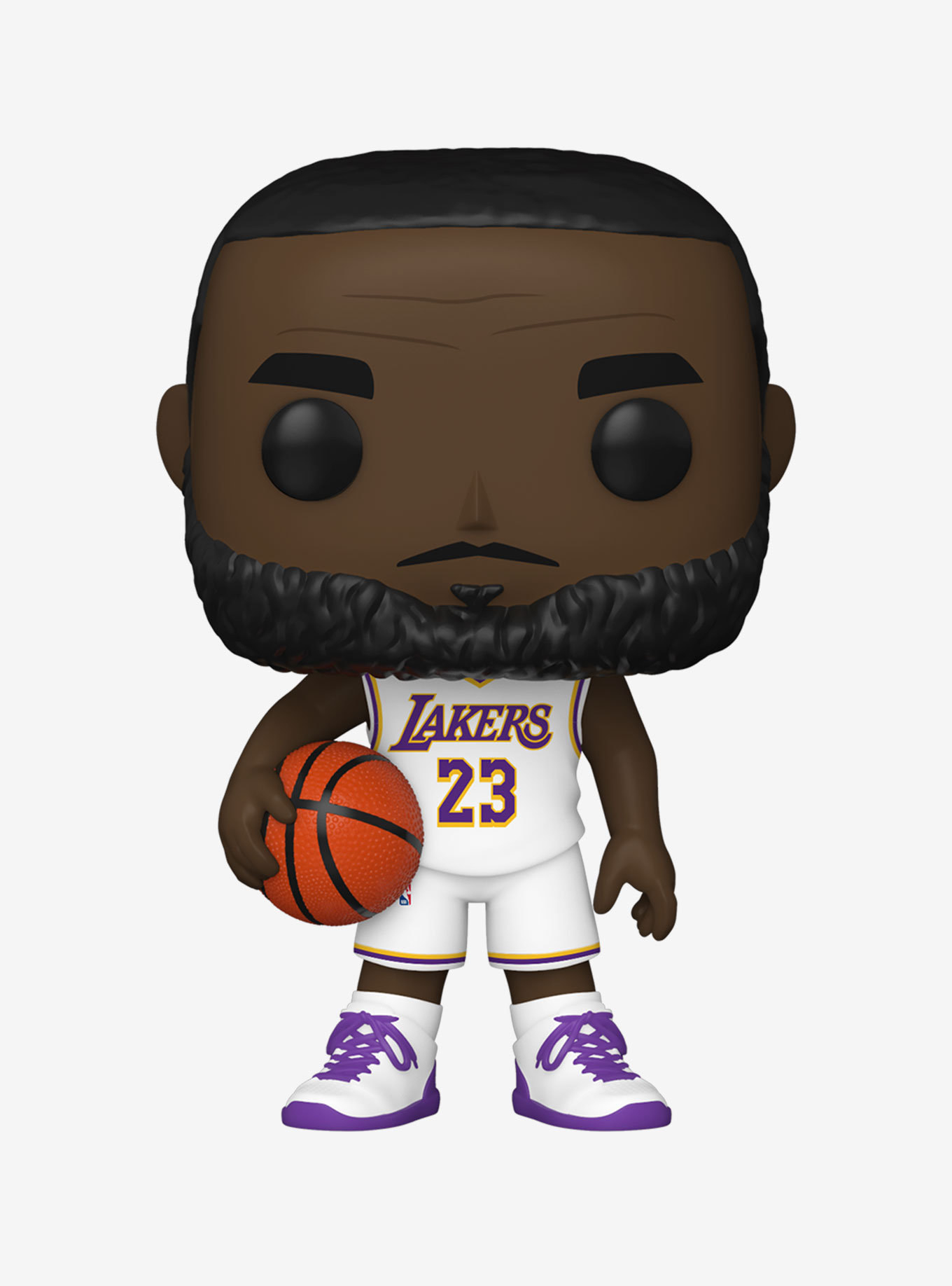 a figure of lebron in a white lakers journey with purple accents