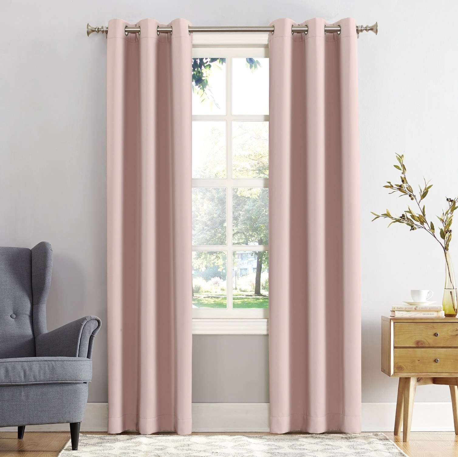 The curtains in blush