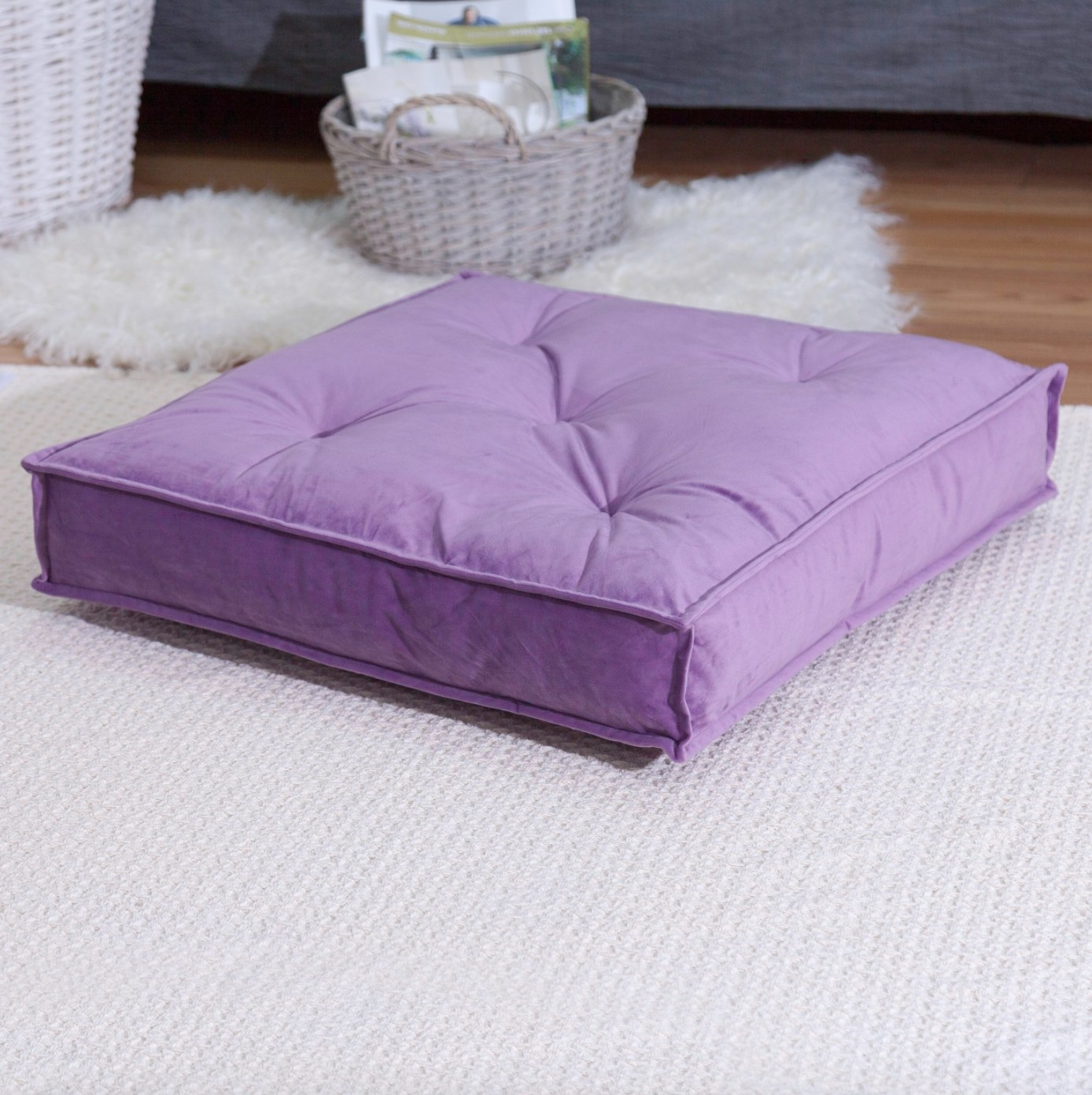 The square cushion in purple