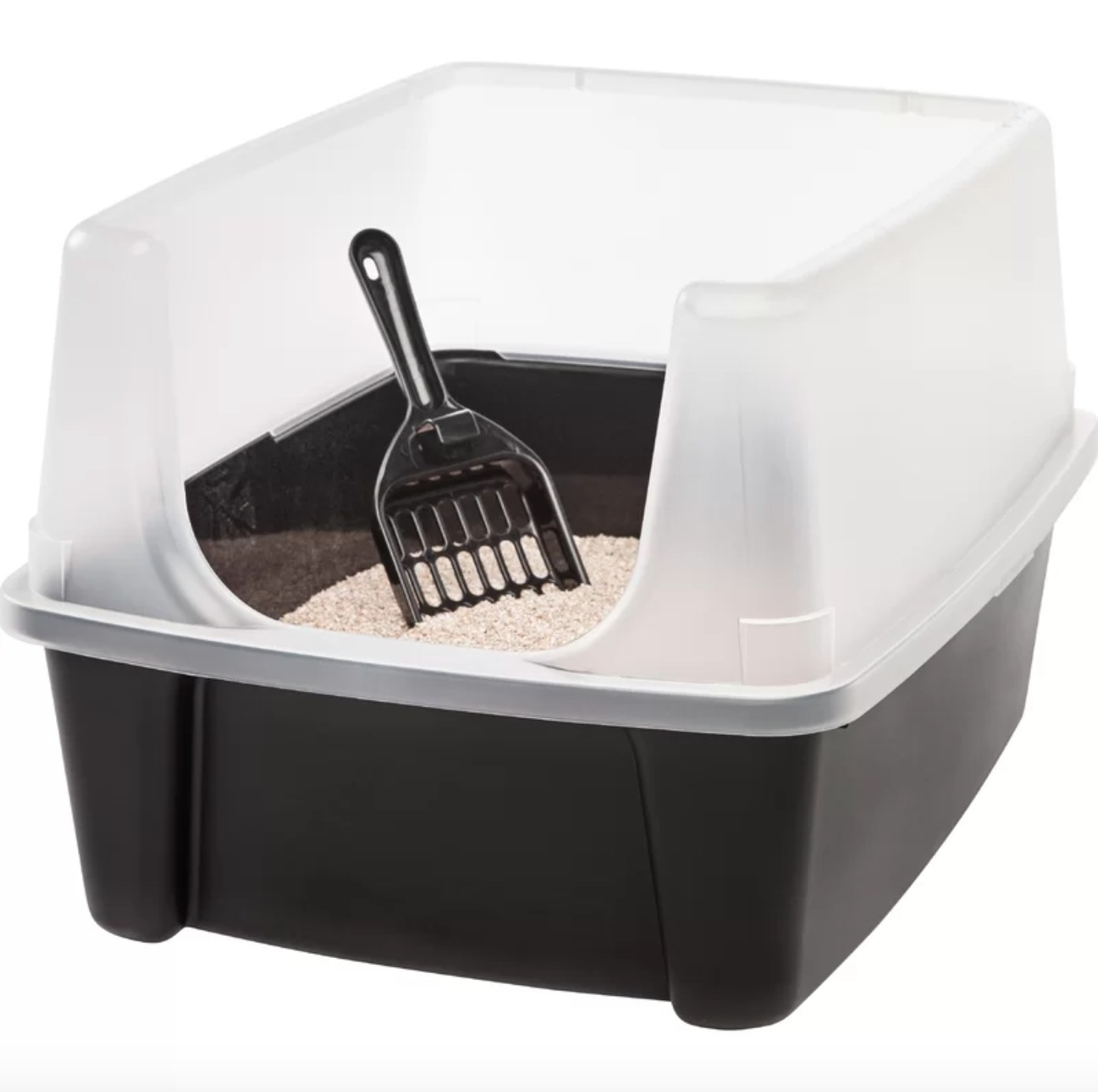 The standard litter box with a scoop in black