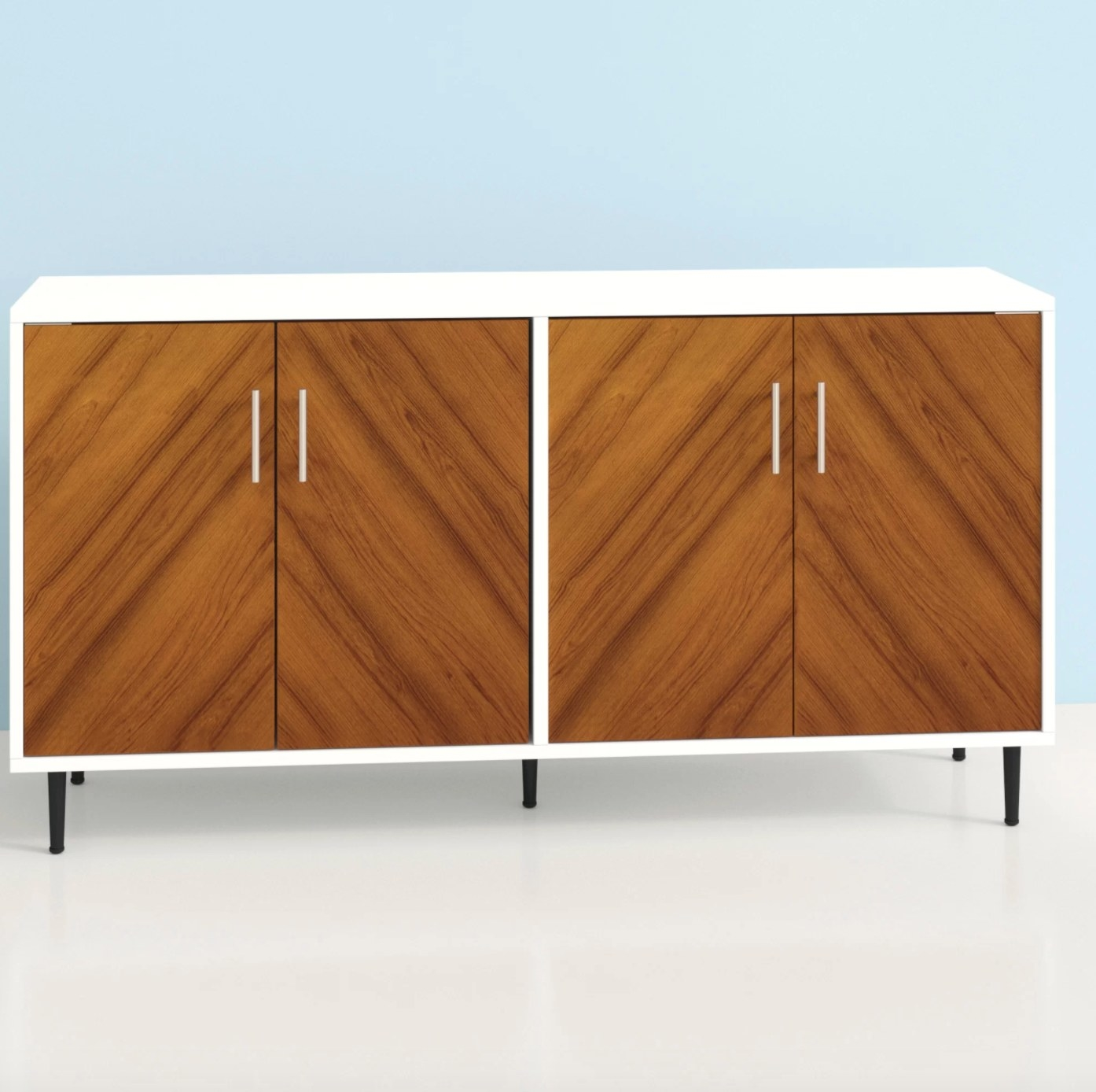 The sideboard in wood and white