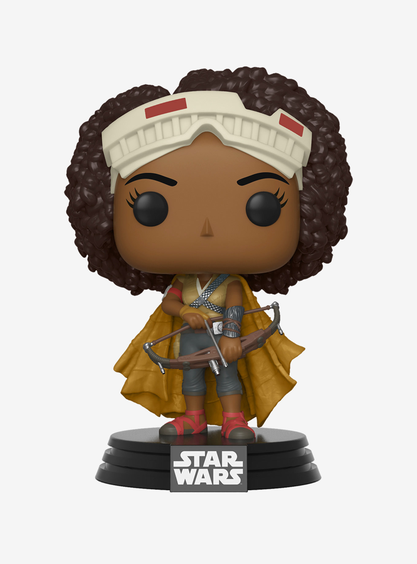 the funko of jannah wearing a cap holding a bow and arrow