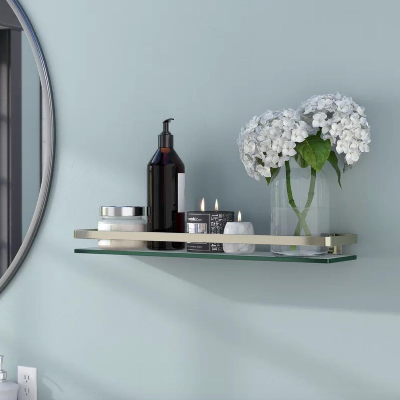 The wall shelf in silver