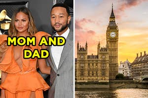 """On the left, Chrissy Teigen and John Legend labeled """"mom and dad,"""" and on the right, Big Ben at sunset"""