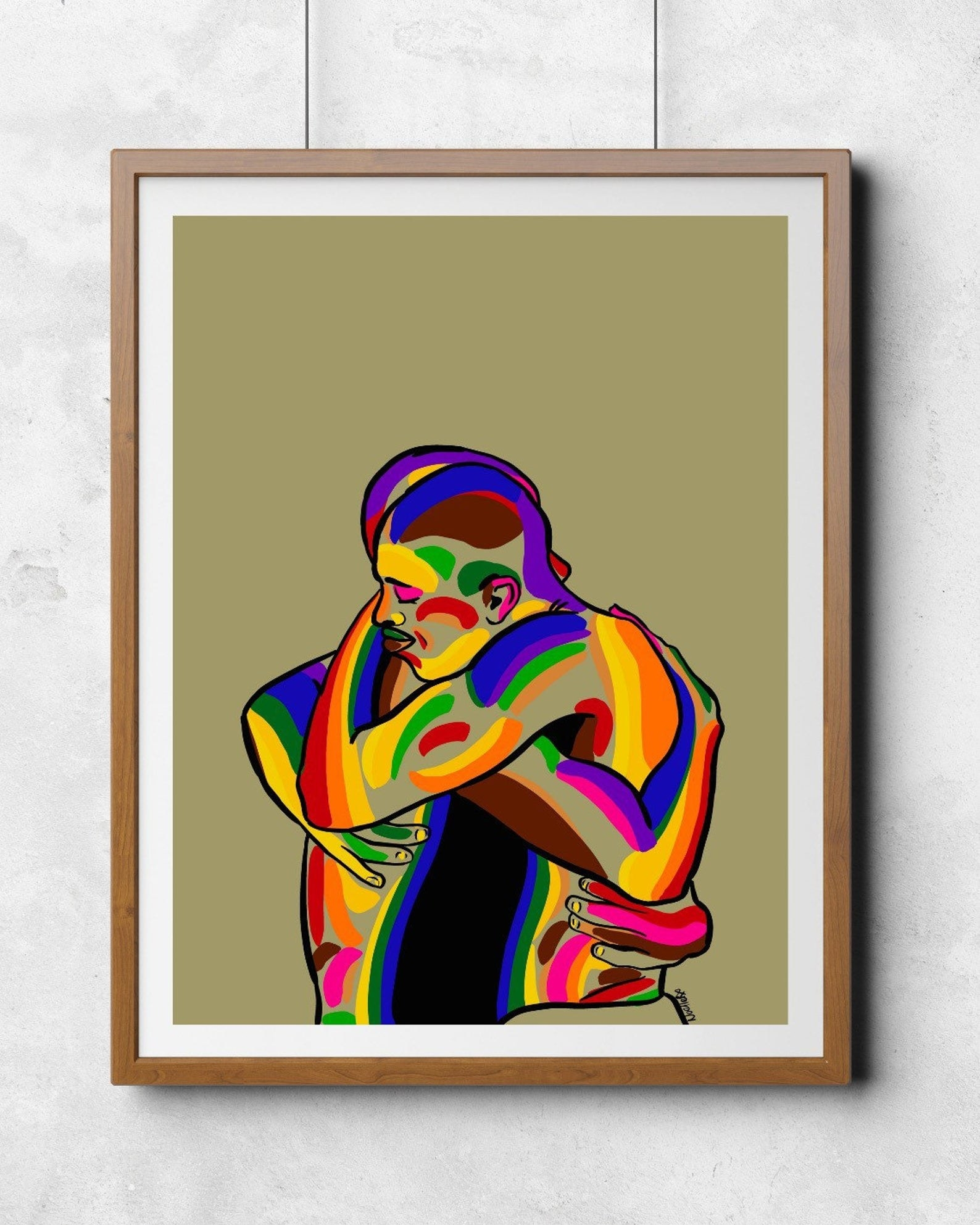 illustrations of two people hugging with rainbow coloring all over them