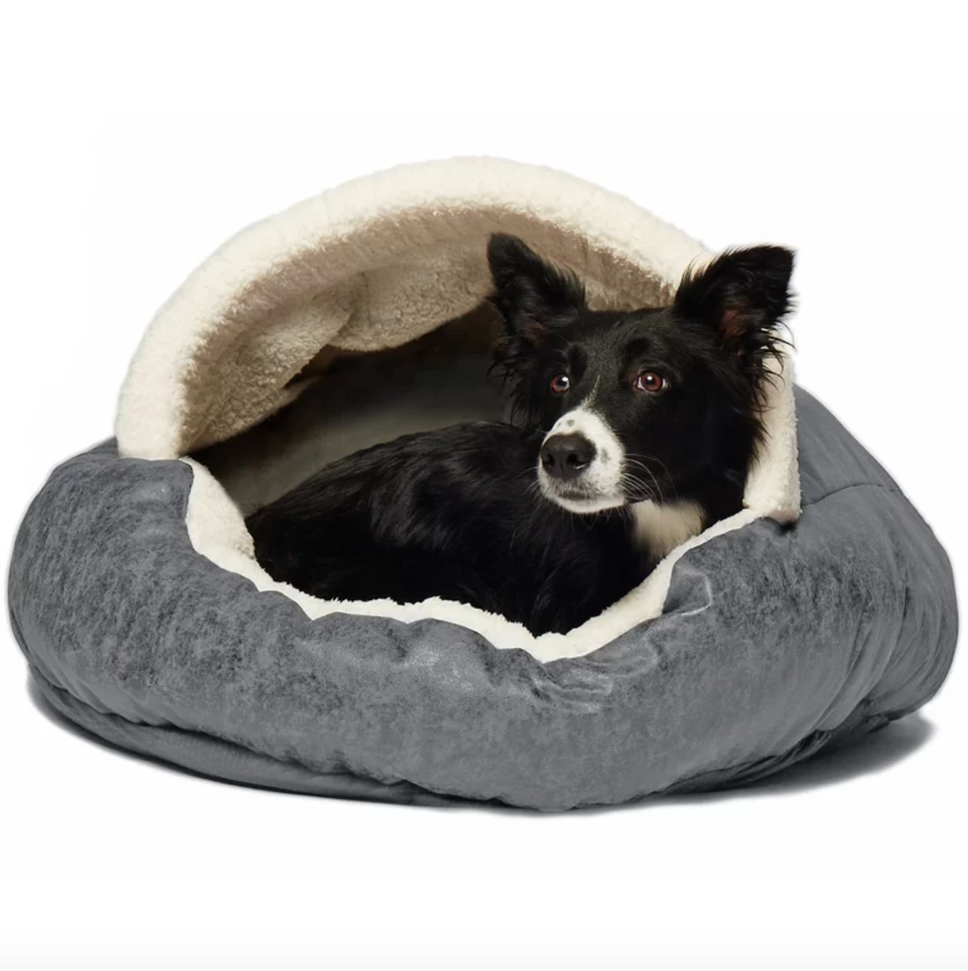 The hooded dog bed in gray