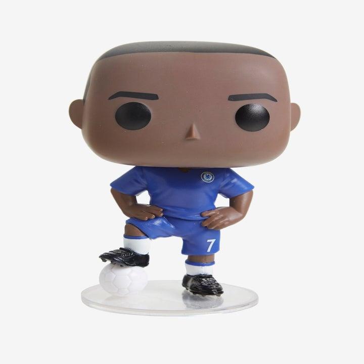 the funko of n'golo kanté in a blue soccer uniform