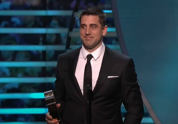 Aaron Rodgers accepting MVP Award.