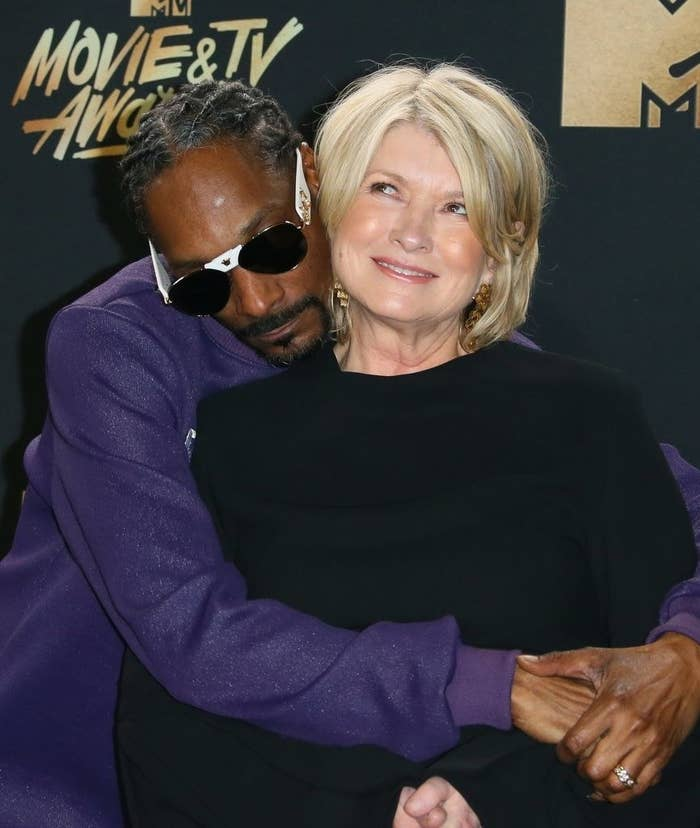 Snoop Dogg and Martha Stewart happily posing together at the 2017 MTV Movie & TV Awards