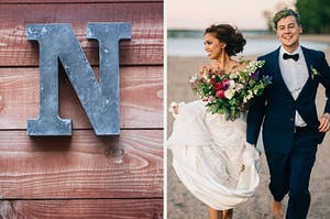 """On the left, the letter """"N"""" made out of wood, and on the right, a bride and groom running on the beach"""