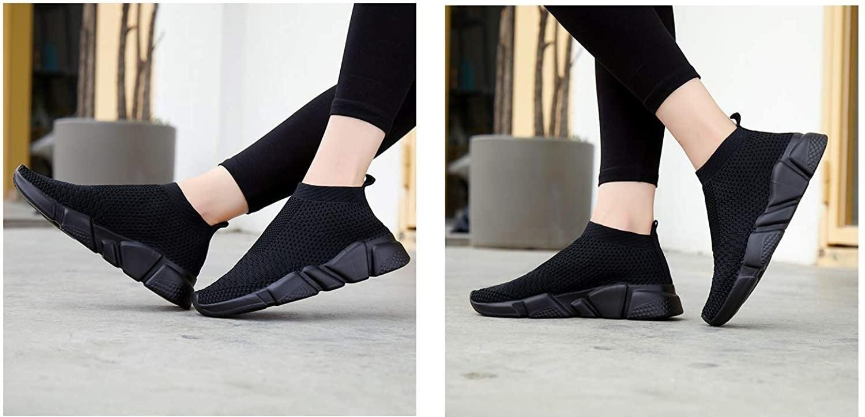 Model wearing black sneakers
