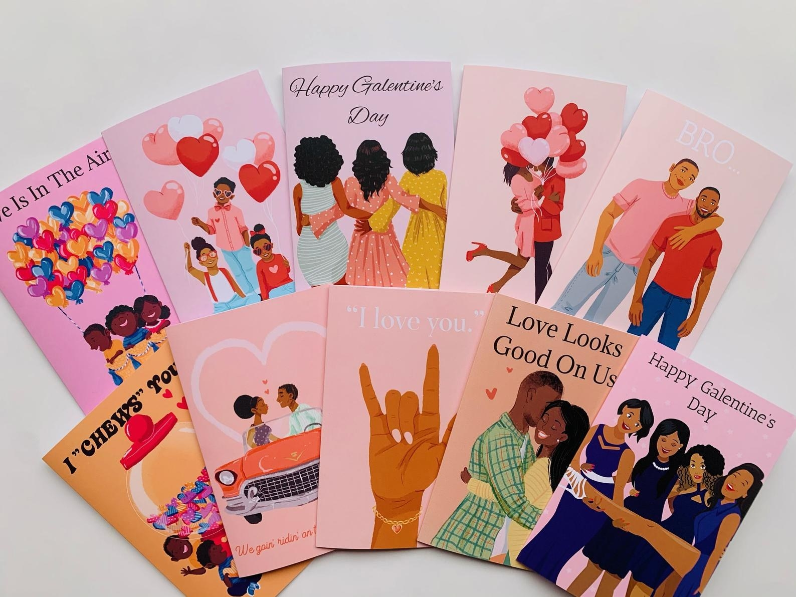 A set of 10 cards all valentine's themed for different people including friends, brothers, kids, and more