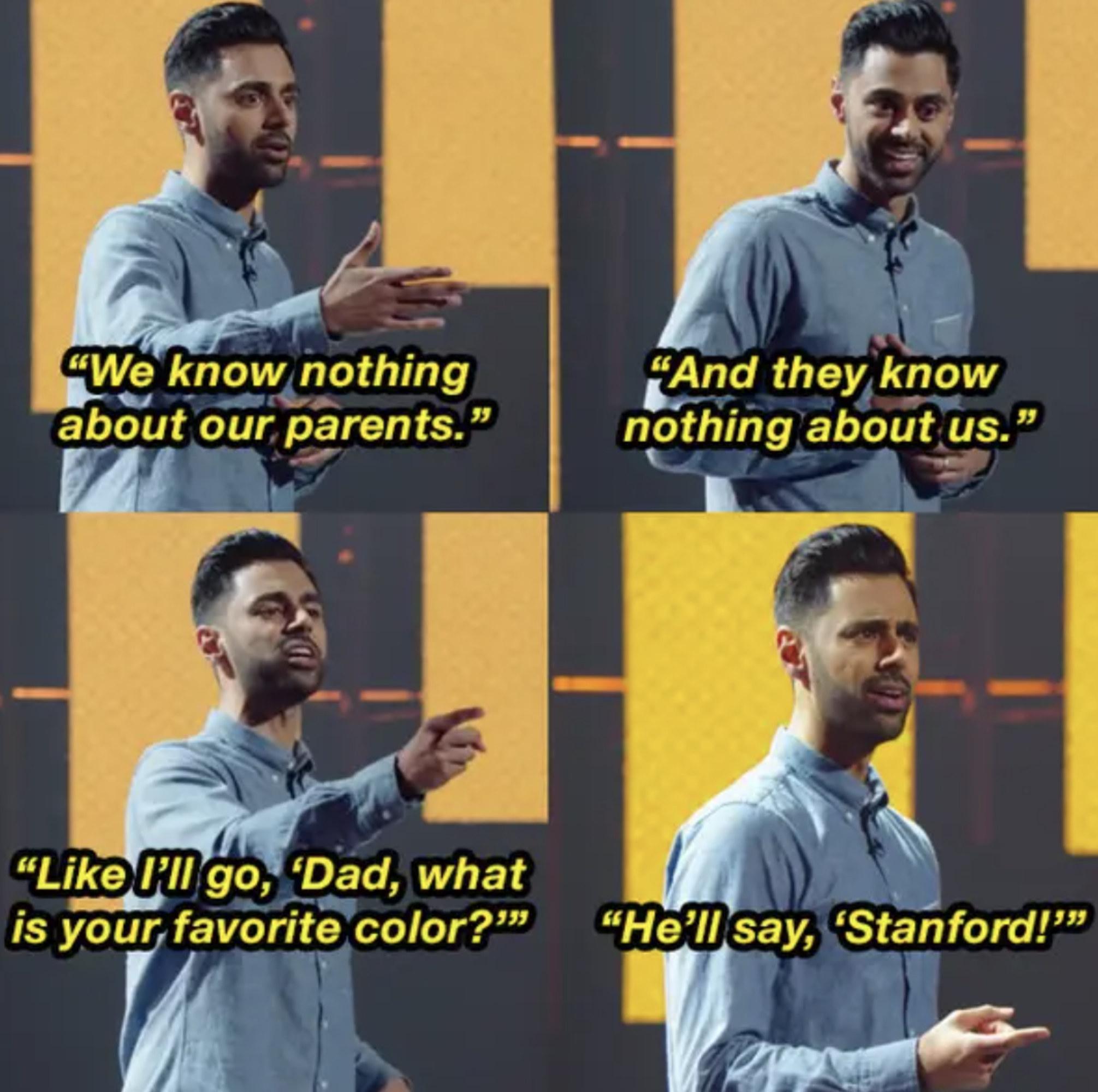 Hasan Minhaj telling a joke on stage