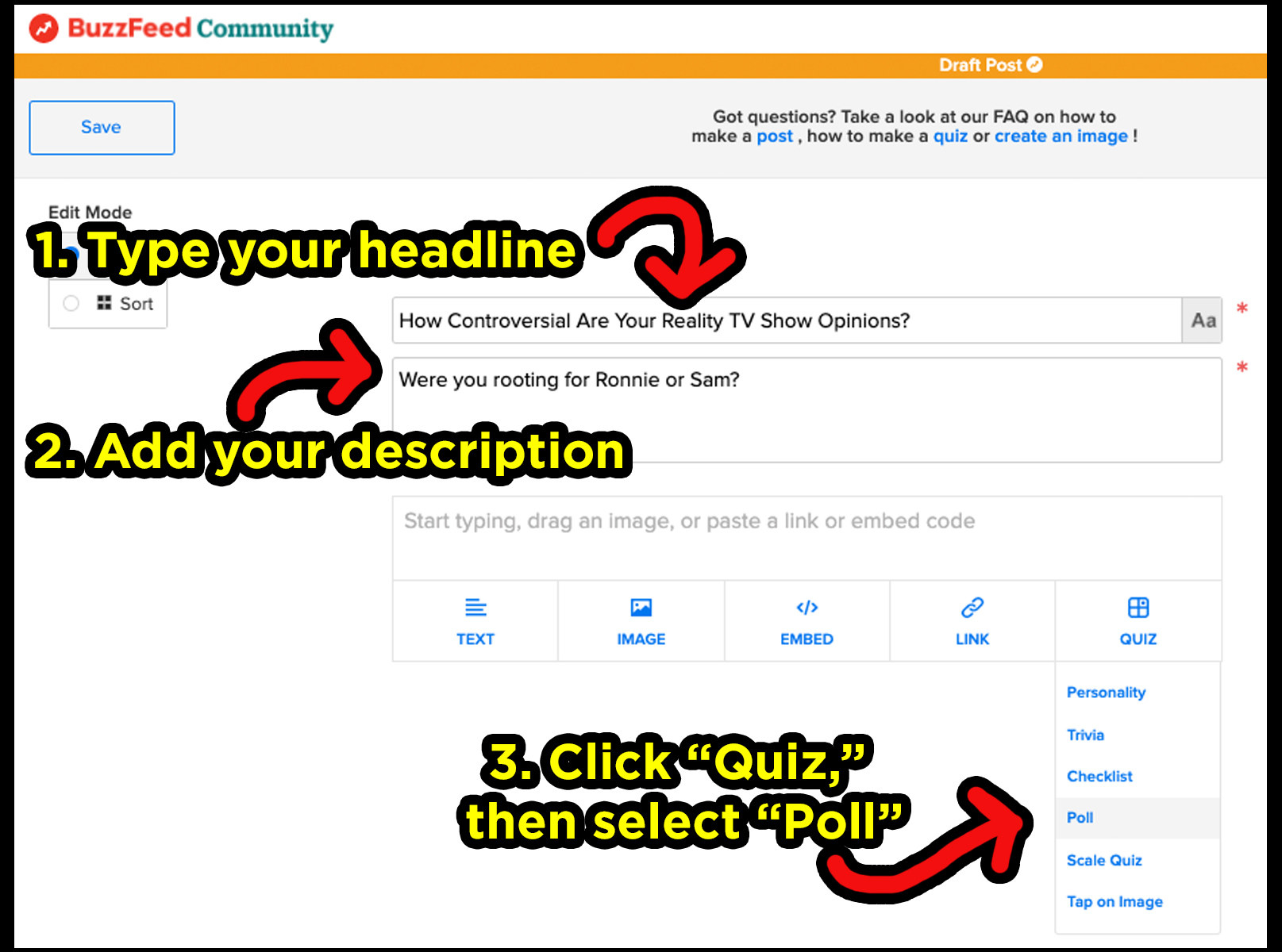 image of buzzfeed content system to show where to type in the headline, description, and where to go to make a poll quiz