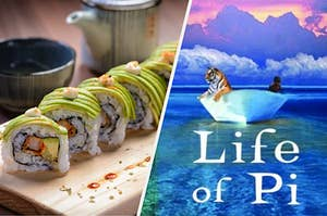 """Sushi and """"Life of Pi"""" book cover"""