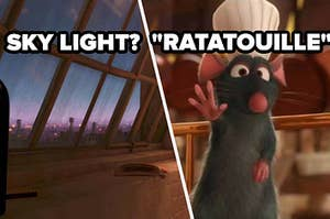sky light? question over a screencap of the apartment room in ratatouille and ratatouille label over screenshot of remy