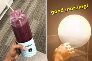 reviewer holding blender with light blue base and purple smoothie inside