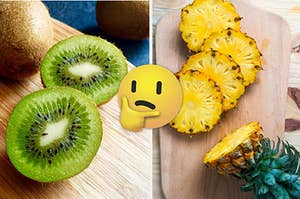 A sliced kiwi is on the left with a think face emoji in the center and a slice pineapple on a cutting board